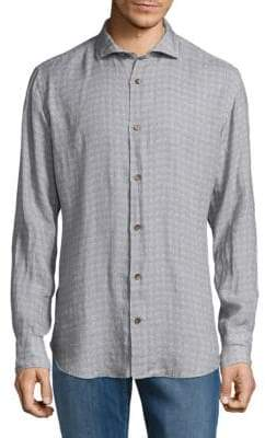 Eleventy Geometric Linen Casual Button-Down Shirt