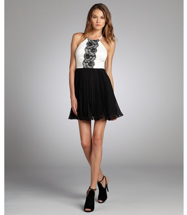 Max & Cleo black and white lace trim 'Katlyn' halter neck cocktail dress