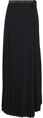Brunello Cucinelli Bead-Embellished Pleated Woven Maxi Wrap Skirt
