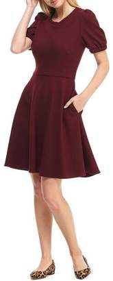 Gal Meets Glam Micro Rib Knit Short-Sleeve Fit-&-Flare Dress