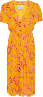 Carolina Herrera V-Neck Short Sleeve Dress