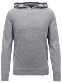 BOSS Hugo Hooded sweater in a virgin-wool cashmere M Silver