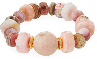 Devon Leigh 18k Rondelle & Ball Stretch Bracelet, Pink