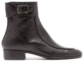 Saint Laurent Miles Leather Ankle Boots - Womens - Black