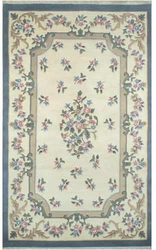 American Home Rug Co. French Country Aubusson Ivory/Blue Area Rug Rug