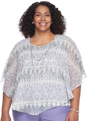 Alfred Dunner Plus Size Studio Scroll Popover Top