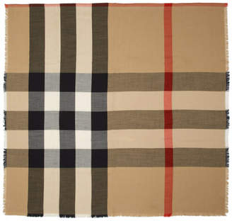 Burberry Beige Mega Check Lightweight Scarf