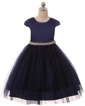 Kids Dream Sleeve Satin Dress W/ Tulle Navy