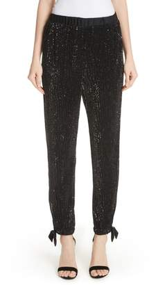 St. John Sequin Embellished Tie Cuff Pants
