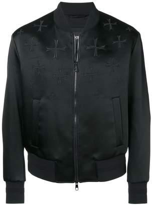 Neil Barrett cross embroidered bomber jacket