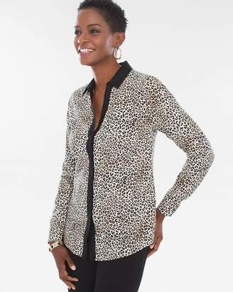 No Iron Cotton Leopard-Print Caroline Shirt