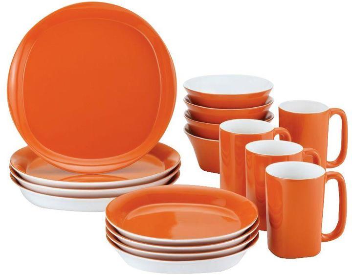Rachael Ray Round and Square 16-Piece Dinnerware Set in Tangerine