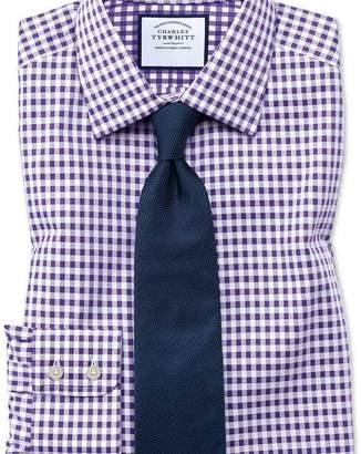 Charles Tyrwhitt Slim fit non-iron gingham purple shirt