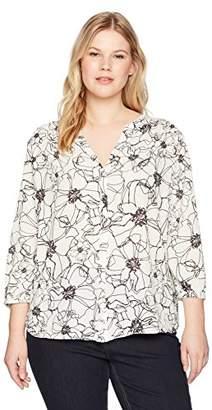 NYDJ Women's Size Plus 3/4 Sleeve Pintuck Blouse