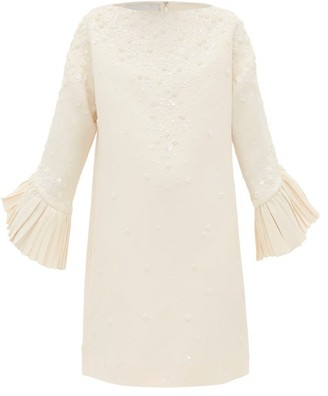 Valentino Floral Bead Embellished Crepe Couture Shift Dress - Womens - Ivory