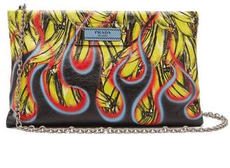 Prada Banana And Flames Print Leather Clutch - Womens - Yellow Multi