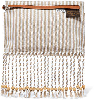 Loewe Striped Cotton-canvas And Textured-leather Pouch - Beige