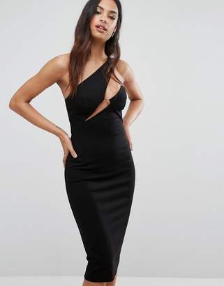 AQ AQ AQ/AQ Cut Out Midi Dress With Slash Neckline $214 thestylecure.com