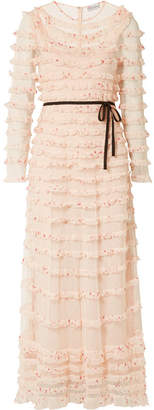 RED Valentino Ruffled Point D'esprit Tulle And Printed Silk-georgette Midi Dress - Cream