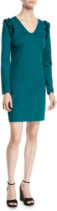 Trina Turk Eleanora Ruffle-Shoulder Long-Sleeve Dress