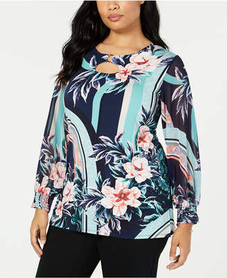 JM Collection Plus Size Floral-Print Keyhole Top, Created for Macy's