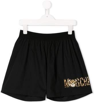 Moschino Kids logo track shorts