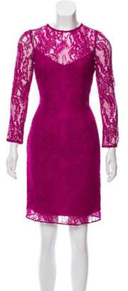 Carmen Marc Valvo Lace Mini Dress Purple Lace Mini Dress