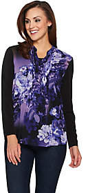 Susan Graver Liquid Knit Tunic with PrintedWoven Overlay