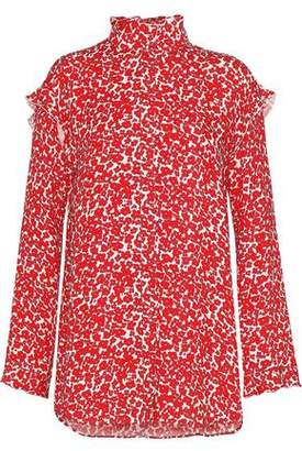 Derek Lam Ruffle-Trimmed Floral-Print Silk Crepe De Chine Blouse