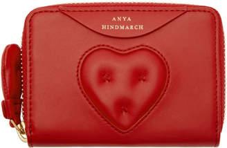 Anya Hindmarch (アニヤ ハインドマーチ) - Anya Hindmarch レッド スモール Chubby Heart ジップ ウォレット