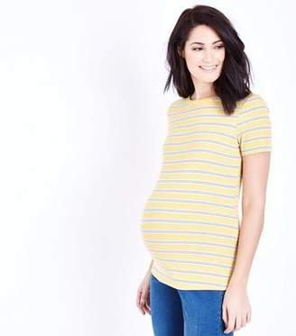 New Look Maternity Yellow Stripe Short Sleeve T-Shirt