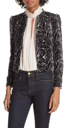 Rebecca Taylor Snake Print Velvet Jacket