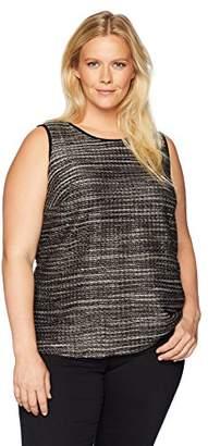Kasper Women's Plus Textured Knit Double U-Neck Tank