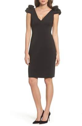 Eliza J Flower Detail Sheath Dress (Regular & Petite)