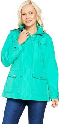 Susan Graver Zip Front Anorak Jacket w/ Polka Dot Lining & Hood