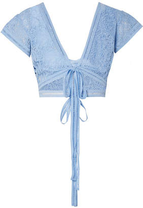 Miguelina Estella Cropped Guipure Lace Top - Light blue