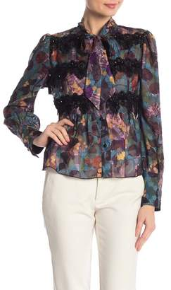 e1da514129795 Anna Sui Floral Embroidered Sheer Tie-Front Blouse