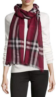 Burberry Giant-Check Wool/Silk Scarf, Purple