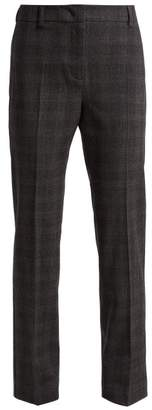 Max Mara Prince Of Wales Check Wool Blend Trousers - Womens - Grey Multi