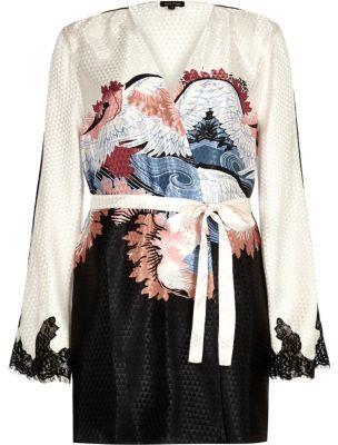 River IslandRiver Island Womens Cream oriental print kimono robe