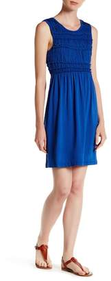 Max Studio Sleeveless Gathered Top Solid Dress