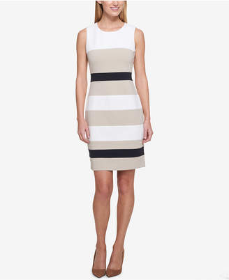Tommy Hilfiger Striped Scuba Sheath Dress