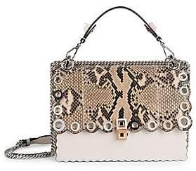 Fendi Women's Kan I Scallop Grommet Leather Shoulder Bag