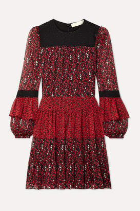MICHAEL Michael Kors Paneled Printed Georgette And Fil Coupé Chiffon Mini Dress - Red