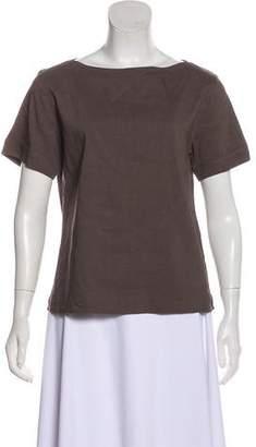 Theory Linen-Blend Short Sleeve Top