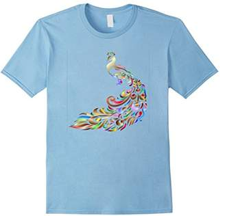 Floral Peacock T-Shirt Colorful Animal Bird Graphic Tee