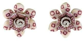18K Sapphire & Diamond Flower Earrings