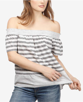Lucky Brand Cotton Striped Off-The-Shoulder Top