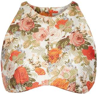Emilia Wickstead Joanna woven floral-gazar crop top