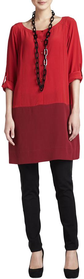 Eileen Fisher Silk Colorblock Tunic, Women's